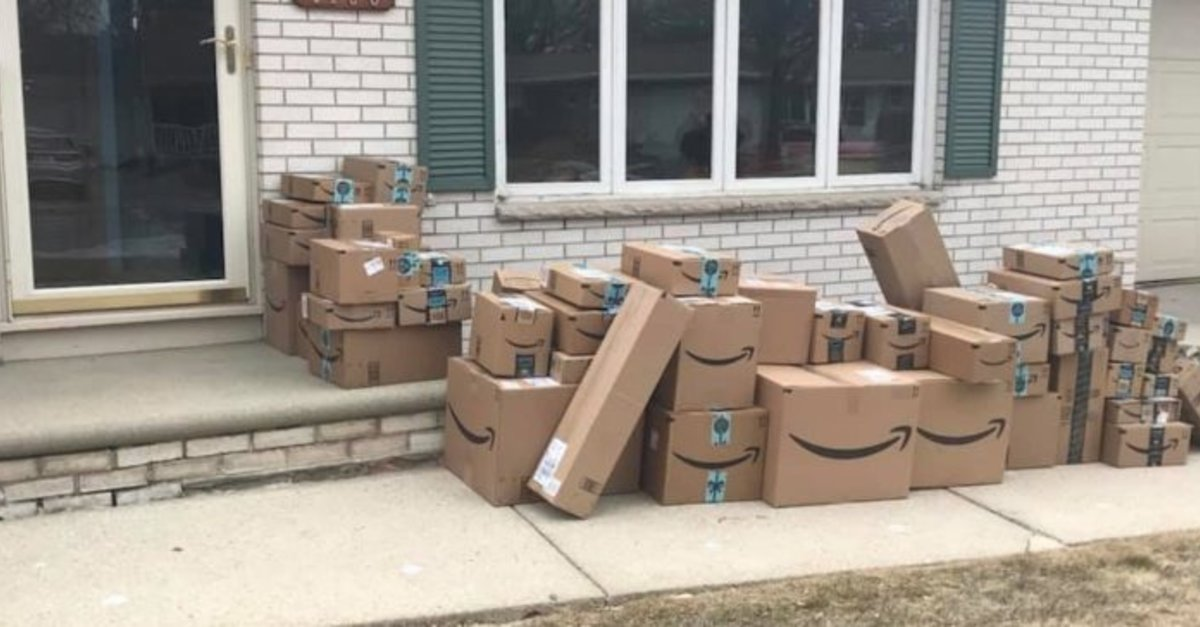 Woman Saves All Her Amazon Boxes For 6 Months Just To Prank Her Husband