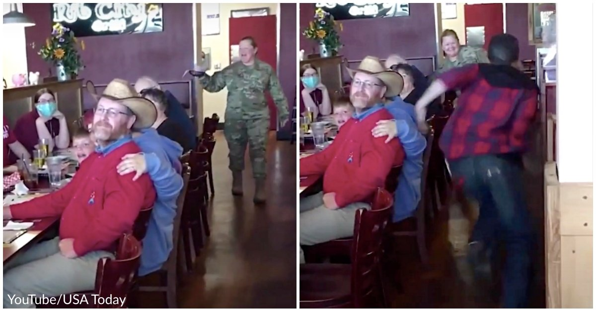 Air Force Mom Comes Home From Deployment, Poses As Server To Surprise Son