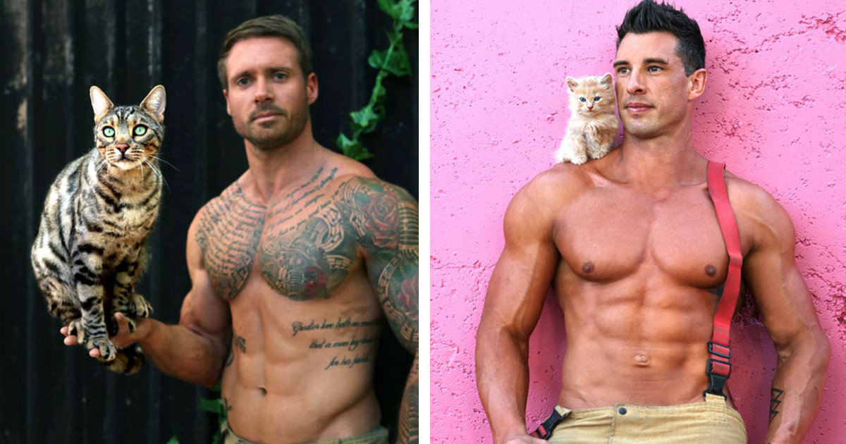 Australian Firefighters Raise Money For Charity By Posing Shirtless With Cats For Their Annual Calendar