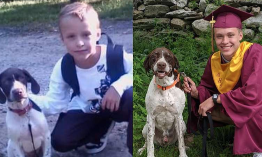 Boy Recreates Touching Photo With His Dog After Graduating High School